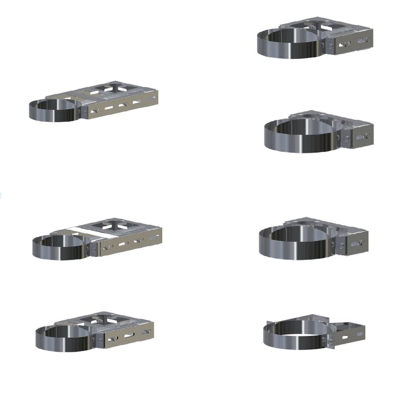 Edelstahlschornstein DW verstellbarer Wandhalter 150-250 mm DN 150 mm