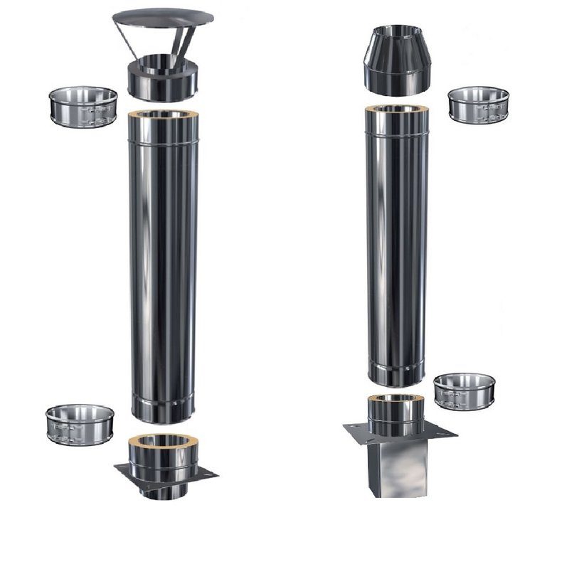 Doppelwandiges Schornsteinrohr in allen L/ängen und Durchmessern /Ø 150mm, 120mm Edelstahl Schornsteinverl/ängerung