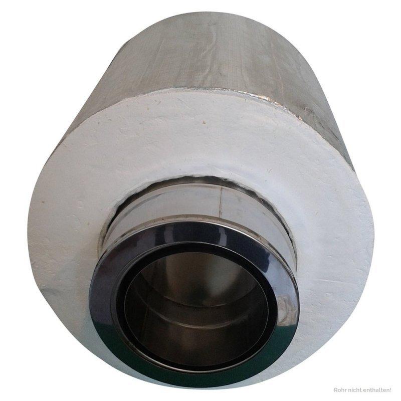 Edelstahl 2-teilig 0° ø 120 mm 180 mm Wandblende Schornstein